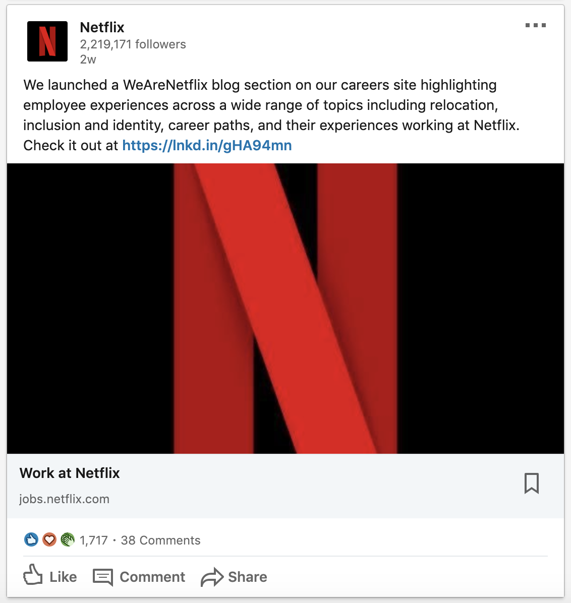 Netflix activating their employer brand on LinkedIn can play a role in their high volume recruiting strategy.