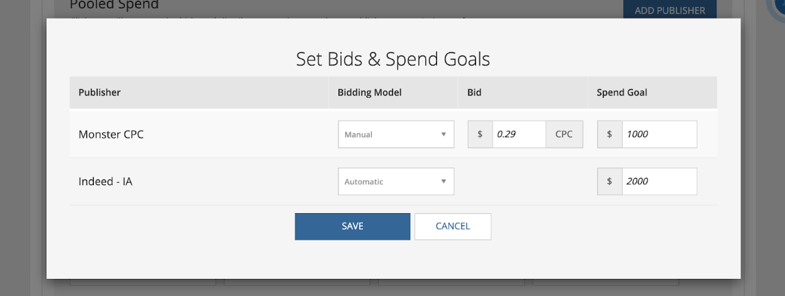 Set Bids & Spend Goals